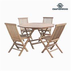 Tisch-Set mit 4 Stühlen Teakholz achteckig by Craftenwood