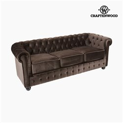 3 Seater Chesterfield Sofa Velvet Brown - Relax Retro Collection by Craftenwood