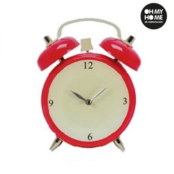 Alarm Clock Glass Wall Clock Pink