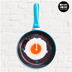 Frying Pan with Fried Egg Glass Wall Clock