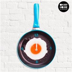 Reloj de Pared de Cristal Sartén con Huevo Frito Oh My Home