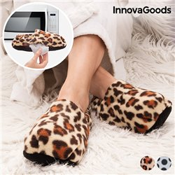 InnovaGoods Jungle Foot Warming Slippers Leopard