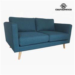 Sofá de 2 Plazas Madera de pino Poliéster Azul (148 x 88 x 83 cm) by Craftenwood