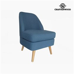 Armchair Pine Velvet Blue (56 x 68 x 82 cm) by Craftenwood