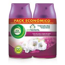 Recambio para ambientador Air Wick FreshMatic Duplo Lirio de Luna y Satén de Seda 250 ml (Pack de 2)