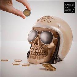 Motorradfahrer-Totenkopf Sparbüchse