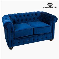 Divano Chesterfield a 2 Posti Velluto Azzurro - Relax Retro Collezione by Craftenwood