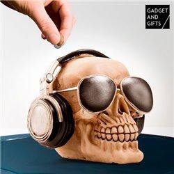 Tirelire Tête de mort avec lunettes de soleil