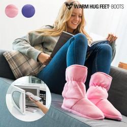 Warm Hug Feet Microwavable Boots Pink M