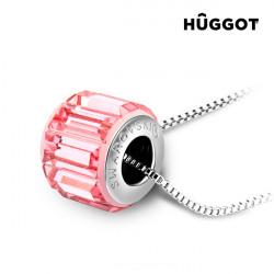 Ciondolo Placcato in Rodio Pink Wheel Hûggot Realizzato con Cristalli Swarovski® (45 cm)