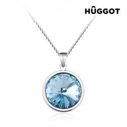 Collier Plaqué Rhodium Blue Diamond Hûggot Fabriqué avec des Cristaux Swarovski® (45 cm)