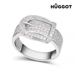 "Hûggot Belt Rhodium-Plated Ring with Zircons ""17,5 mm"""