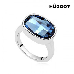 "Hûggot I'm Blue Rhodium-Plated Ring Created with Swarovski®Crystals ""17,5 mm"""