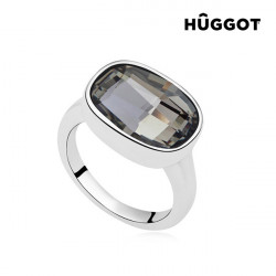"Hûggot Night Rhodium-Plated Ring Created with Swarovski®Crystals ""17,5 mm"""