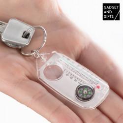 Gadget and Gifts Schlüsselanhänger mit Kompass, Lupe und Thermometer
