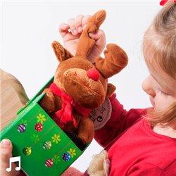 Weihnachtskuscheltier mit Ton in dekorativer Schachtel