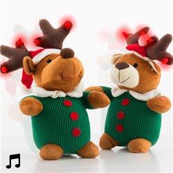 Peluche de Natal que Canta com Luzes e Movimento Cão