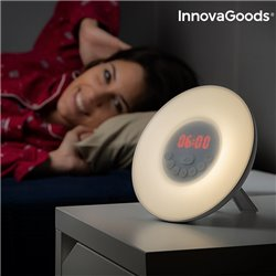 Rádio-Despertador com Efeito Amanhecer InnovaGoods LED FM USB Branco