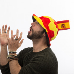 Football Hat with Spanish Flag Embellishment