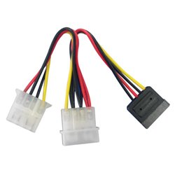 """Lindy SATA/5.25"""" Power Adapter Splitter Cable, 0.15m power cable Multicolor"""